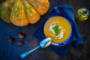 Pumpkin cream soup with red curry