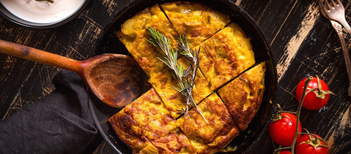 Spanish omelette with onion and tomato