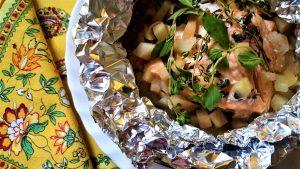 Salmone, pere, grappa, cartoccio, pesce, ricetta, friggitrice ad aria, aerofryer, princess, princess home,