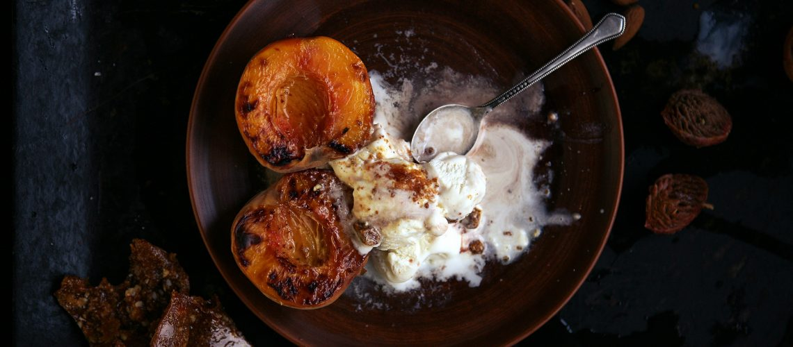 Grilled peach with ice
